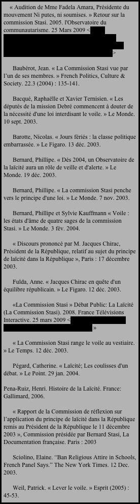 « Audition de Mme Fadela Amara, Présidente du mouvement Ni putes, ni soumises. » Retour sur la commission Stasi. 2005. l'Observatoire du communautarisme. 25 Mars 2009 <http://www.communautarisme.net/commissionstasi/Audition-de-Mme-Fadela-Amara,-Presidente-du-mouvement-Ni-putes,-ni-soumises_a31.html>         Baubérot, Jean. « La Commission Stasi vue par l'un de ses membres. » French Politics, Culture & Society. 22.3 (2004) : 135-141.         Bacqué, Raphaëlle et Xavier Ternisien. « Les députés de la mission Debré commencent à douter de la nécessité d'une loi interdisant le voile. » Le Monde. 10 sept. 2003.         Barotte, Nicolas. « Jours fériés : la classe politique embarrassée. » Le Figaro. 13 déc. 2003.         Bernard, Phillipe. « Dès 2004, un Observatoire de la laïcité aura un rôle de veille et d'alerte. » Le Monde. 19 déc. 2003.         Bernard, Phillipe. « La commission Stasi penche vers le principe d'une loi. » Le Monde. 7 nov. 2003.         Bernard, Phillipe et Sylvie Kauffmann « Voile : les états d'âme de quatre sages de la commission Stasi. » Le Monde. 3 fév. 2004.         « Discours prononcé par M. Jacques Chirac, Président de la République, relatif au sujet du principe de laïcité dans la République », Paris : 17 décembre 2003.         Fulda, Anne. « Jacques Chirac en quête d'un équilibre républicain. » Le Figaro. 12 déc. 2003.         «La Commission Stasi » Débat Public: La Laïcité (La Commission Stasi). 2008. France Télévisions Interactive. 25 mars 2009 <http://www.france5.fr/actu_societe/W00137/9/102197.cfm »         « La Commission Stasi range le voile au vestiaire. » Le Temps. 12 déc. 2003.         Pégard, Catherine. « Laïcité; Les coulisses d'un débat. » Le Point. 29 jan. 2004.   Pena-Ruiz, Henri. Histoire de la Laïcité. France: Gallimard, 2006.         « Rapport de la Commission de réflexion sur l'application du principe de laïcité dans la République remis au Président de la République le 11 décembre 2003 », Commission présidée par Bernard Stasi, 
