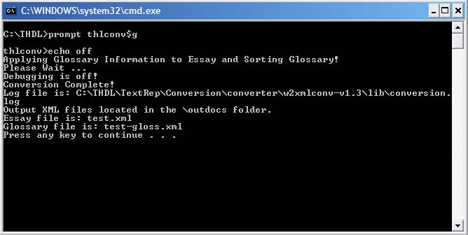Image of DOS Window for a Successful Conversion